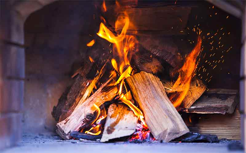 healthy fire from chimney sweeping
